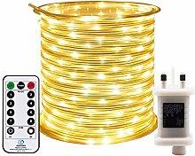 RcStarry 10M 100 LED Rope Lights, 8 Modes, Timer,