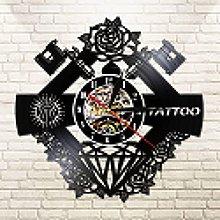 Real Vinyl Record Tattoo Machine Wall Clock Tattoo