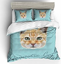REALIN Cute Pet Cat Duvet Cover Set Animal Cat