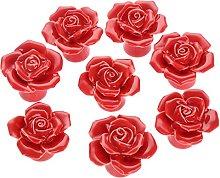 REAPP Cabinet Knob 8Pcs Ceramic Red Rose Furniture