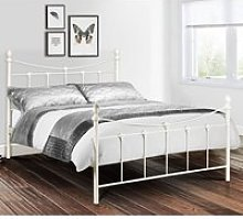 Rebecca Metal Double Bed In Stone White