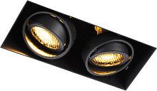 Recessed spot black 2-light rotatable and tiltable