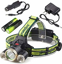 Rechargeable Headlamp Flashlight, Super Bright 3 X