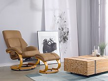 Recliner Armchair Beige with Footstool Faux
