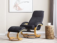 Recliner Armchair Black with Footstool Polyester