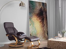 Recliner Armchair Brown with Footstool Faux