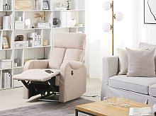 Recliner Chair Beige Fabric Upholstery Polyester