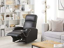 Recliner Chair Black Faux Leather Upholstery Blue