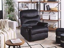 Recliner Chair Black Velvet Upholstery Push-Back