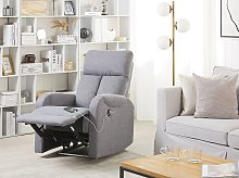 Recliner Chair Grey Fabric Upholstery Polyester