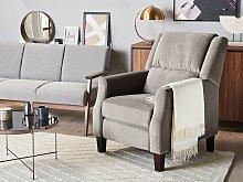Recliner Chair Grey Velvet Upholstery Push-Back
