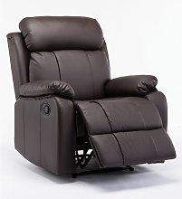 Recliner Chair Leather Sofa Brown