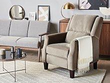 Recliner Chair Taupe Velvet Upholstery Push-Back