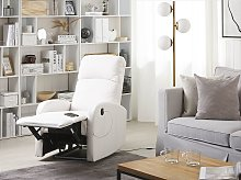 Recliner Chair White Faux Leather Upholstery Blue