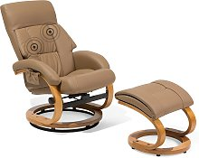 Recliner Chair with Footstool Faux Leather Beige