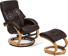 Recliner Chair with Footstool Faux Leather Brown