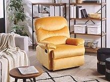 Recliner Chair Yellow Velvet Upholstery Push-Back