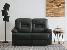 Recliner Sofa Black 2 Seater Faux Leather Manually