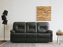 Recliner Sofa Black 3 Seater Faux Leather Manually