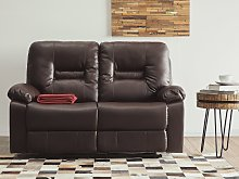 Recliner Sofa Brown 2 Seater Faux Leather Manually