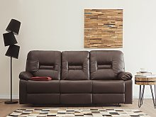 Recliner Sofa Brown 3 Seater Faux Leather Manually