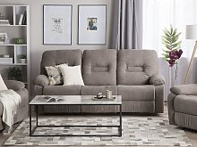 Recliner Sofa Taupe Beige 3 Seater Manually