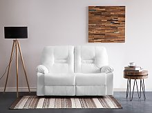 Recliner Sofa White 2 Seater Faux Leather Manually