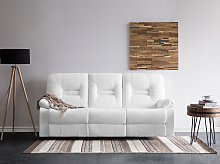 Recliner Sofa White 3 Seater Faux Leather Manually