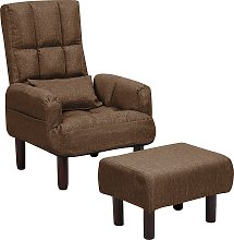 Reclining Fabric Armchair and Ottoman Set Brown