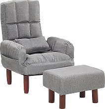Reclining Fabric Armchair and Ottoman Set Grey