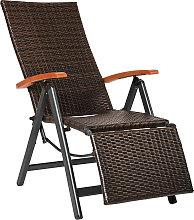 Reclining garden chair with footrest - brown