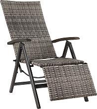 Reclining garden chair with footrest - grey