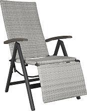 Reclining garden chair with footrest - light grey