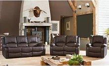 Reclining Leather Sofa Set: Three-Seater/Cream