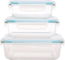 Rectangle Glass 3 Container Food Storage Set