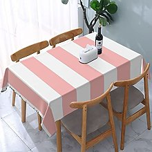 Rectangle Table Cloth,Modern Light Pink And White