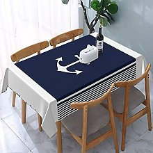 Rectangle Table Cloth,Navy Blue Striped Nautical