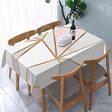 Rectangle Table Cloth,Pink Grey & Gold Geo