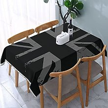 Rectangle Table Cloth,Silver Union Jack Grunge