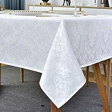Rectangle Tablecloth -132 x 182CM White Damask