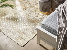Rectangular Area Rug Beige and Gold Cowhide