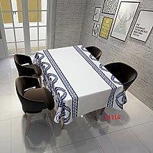 Rectangular Decorative Tablecloth,Blue Pattern