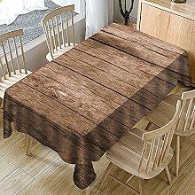 Rectangular Decorative Tablecloth,Brown Planks