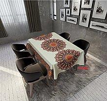 Rectangular Decorative Tablecloth,Mandala Light