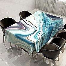 Rectangular Decorative Tablecloth,Marbling Blue