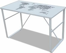 Rectangular Desk with Map Pattern QAH08585