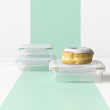 Rectangular Glass 3 Container Food Storage Set