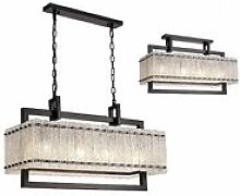 Rectangular pendant light Flow 8 bulbs matt black