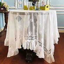 Rectangular/Round Lace Tablecloth Vintage White