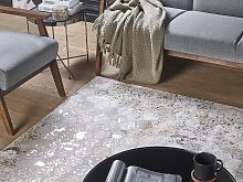 Rectangular Rug Silver with Beige Cowhide Leather